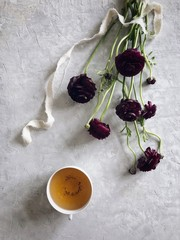 Herbal Tea and Ranunculus flowers