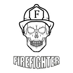 Firefighter logo. Fire Department. Human skull with firefighter helmet.