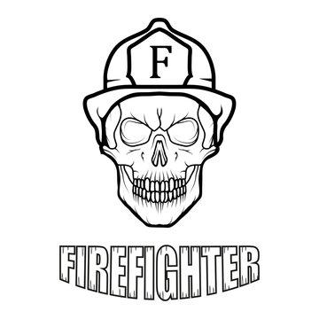 Firefighter logo. Fire Department. Human skull with firefighter helmet.