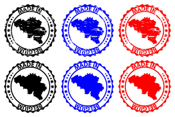 Made in Belgium - rubber stamp - vector, Belgium map pattern - black,blue and red