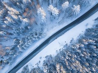 Aerial view of a road through winter landscape, Gaisberg, Salzburg, Austria