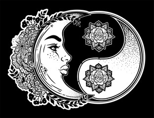Yin and Yang symbol with decorative crescent moon.