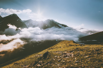 Sunset Mountains and clouds Landscape summer Travel serene scenery nature view.
