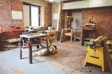 Carpentry workshop with equipment