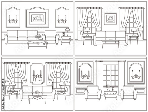Living Room Interior Vector Room Set Interiors Home Line