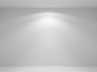 Wall lamp light in white empty room closeup