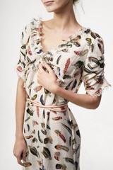 Crop woman in stylish summer dress