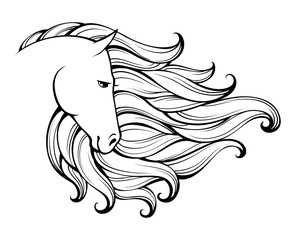 Linear stylized horse. Black and white graphic. Vector illustration can be used as design for tattoo,t-shirt,bag,poster, postcard.