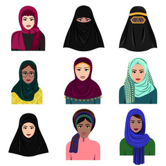 Vector illustration of different muslim arab women characters in hijab icons set. Islamic saudi arabic ethnic women in traditional clothing in flat style isolated on white background.