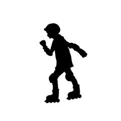 Silhouette girl skating rollerblading sport