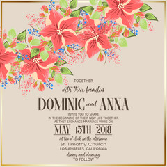 Wedding invitation with flowers