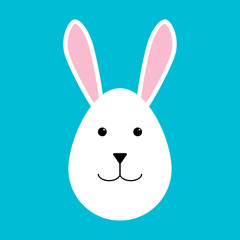Happy easter. Easter rabbit on a blue background. Rabbit in the form of an egg