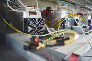 Farm with equipment for bitcoin cryptocurrency mining