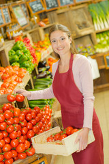 Shop assistant stacking tomatoes