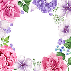 Floral background in watercolor style isolated on white. Place for text.