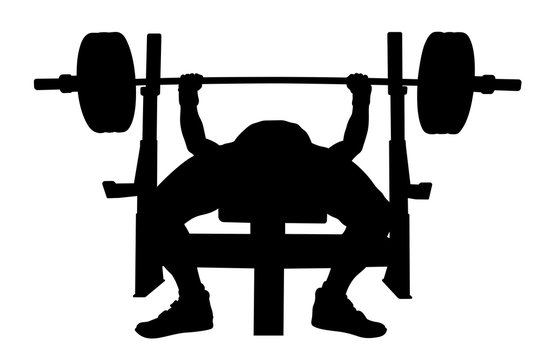 male athlete powerlifter bench press black silhouette