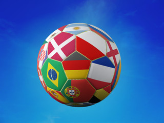 Soccer ball with national team flags