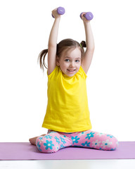 kid child doing exercises with dumbbells, isolated on white background, concept of healthy lifestyle