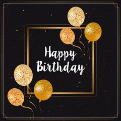 Happy birthday card with gold glitter balloons
