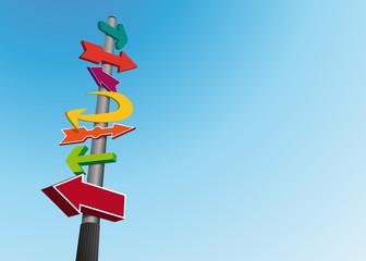 orientation - direction - signalisation - poteau -indicateur - indication - flèche - fond - pancarte