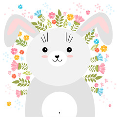 Vector cartoon sketch rabbit illustration with spring and summer flowers