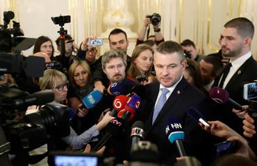 Slovak deputy Prime Minister Peter Pellegrini talks to the journalists after the meeting with President of Slovakia Andrej Kiska in Bratislava