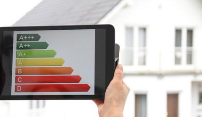 Energielabel mit einem Haus