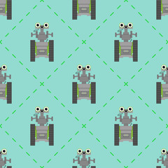 Vector seamless pattern with cute robots.