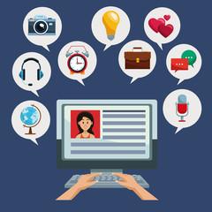 Using computer for social media vector illustration graphic design