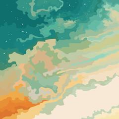 cartoon sky sunset blue orange with stars