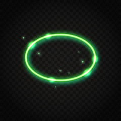 Neon green oval frame with space for text