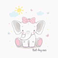 Little elephant girl. Vector illustration for kids