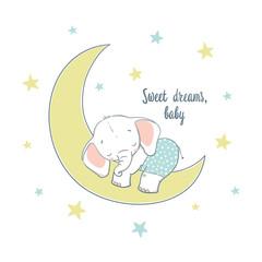 Sweet dreams. A little elephant sleep on the moon