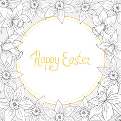 Easter greeting card with vintage daffodil round frame. Hand drawn spring flower template