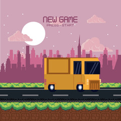 Pixelated urban videogame scenery vector illustration graphic design