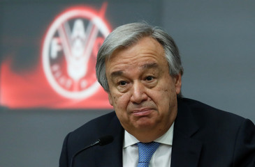 U.N. Secretary-General Antonio Guterres talks during a news conference at the end of a summit, to address Palestinian UNWRA funding crisis, at the U.N. Food and Agriculture Organization (FAO) headquarter in Rome