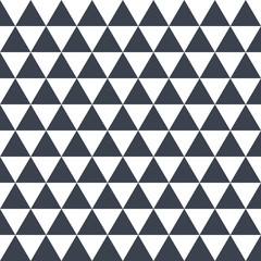 Black seamless pattern triangles on white background, illustration
