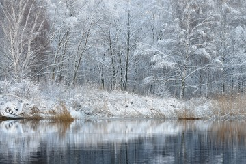 Beautiful winter lake landscape in Latvia