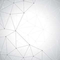 Grey graphic background molecule and communication. Connected lines with dots, illustration