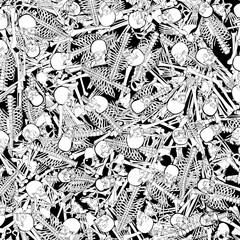The boneyard jumble / 3D illustration of abstract black and white cartoon style skeleton bones background