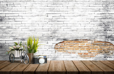 Mock up old brick wall with wooden top table