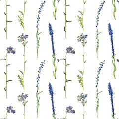 seamless pattern with watercolor drawing flowers and plants