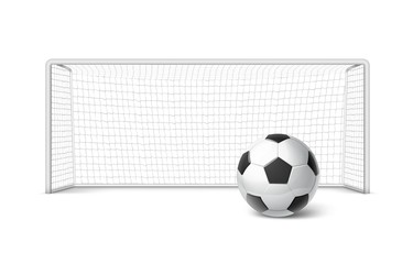 Vector realistic soccer goal with grid and soccer ball isolated on white background