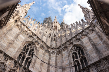 Duomo di Milano. View from the roof of Duomo in Italy