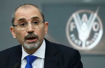 Jordanian Foreign Minister Ayman Safadi talks during a news conference at the end of a summit, to address Palestinian UNWRA funding crisis, at the U.N. Food and Agriculture Organization (FAO) headquarters in Rome