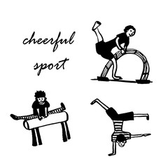 drawing a set of pictures of boys engaged in athletics, sketch, hand-drawn vector illustration