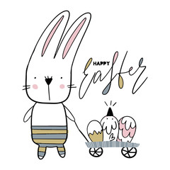 Card with calligraphy lettering Easter with bunny and nestling. Vector illustration for Easter