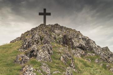 The cross on Llanddwyn island on Anglesey, North Wales.