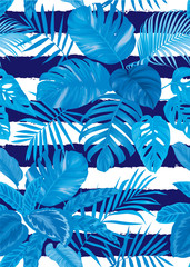 Tropical seamless pattern with palm leaves on blue background. Vector set of exotic tropical garden for holiday invitations, greeting card and fashion design.