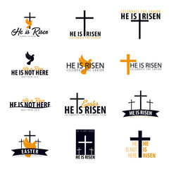He is Risen. Church easter logo, emblem, labels or stickers with dove and cross. Vector graphics set